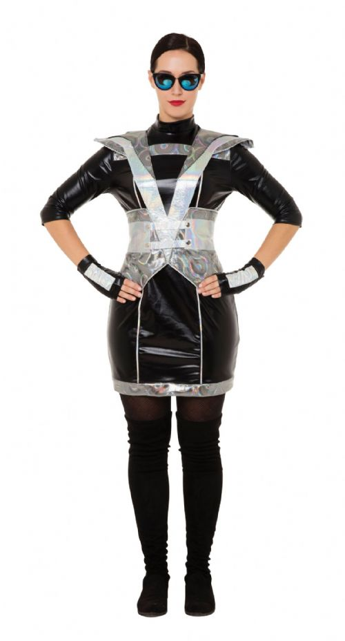 Ladies Futuristic Police Lady Costume Space Sci-Fi Fancy Dress Outfit